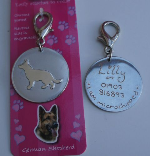 GERMAN SHEPHERD ID TAG -  ENGRAVED FREE
